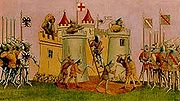 Du Guesclin attacks Mont Orgueil 1373 Rybot 1939.jpg